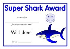 Shark award certificates (SB5604) - SparkleBox