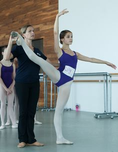 Houston Ballet Academy scholarship student Lily Blazevic with instructor Sabrina Lenzi. Photo by Cameron Durham.