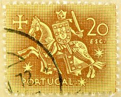 great old portuguese stamp Portugal 20 esc.  knight (seal of King Dinis) horse Europe 20 Escudos brown-gold postzegel zegels marka Briefmarke Portugal stamp selo Portugal postage แสตมป์ ยุโรป โปรตุเกส timbre sello Portugal francobolli bollo Portogallo 邮票