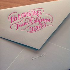 love the calligraphy! neon #pink on a #grey envelope, by: Ladyfingers Letterpress