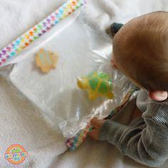 mini water blob - 2 freezer bags, duct tape, water, soft bath toys.