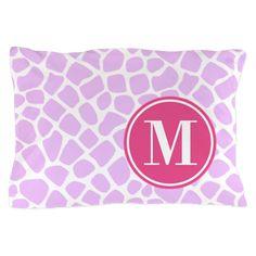 Chic Purple Giraffe Print With Monogra Pillow Case on CafePress.com