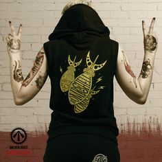 Hard Corps 'Love the Bombshell' sleeveless hoodie - hand printed. JOIN THE FIGHT!