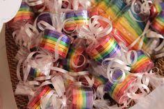 Gracie's My Little Pony Rainbow Birthday Party - rainbow coin favors and rainbow twizzlers