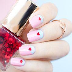 Heart Nail Designs, Valentine's Day Nail Designs, Nails Design, Seasonal Nails, Holiday Nails, Love Nails, Pretty Nails, French Nails, Heart Nails