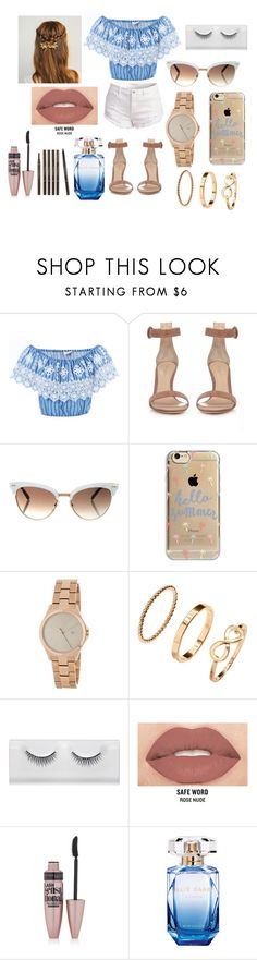 """Summer Day in Vegas"" by melindau on Polyvore featuring moda, Miguelina, Gianvito Rossi, Gucci, Agent 18, DKNY, Smashbox, Maybelline, Elie Saab y Etude House"