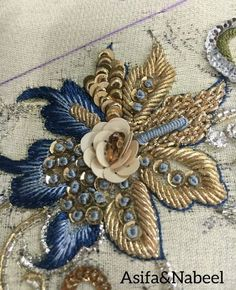 Zardosi Embroidery, Tambour Embroidery, Bead Embroidery Patterns, Hand Work Embroidery, Couture Embroidery, Gold Embroidery, Embroidery Fashion, Hand Embroidery Designs, Tambour Beading