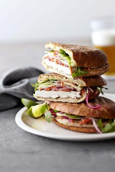 Vietnamese Grilled Chicken Sandwiches- a lighter panini that's perfect for an easy weeknight dinner. Seasoned grilled chicken and quick-pickled . Grilled Chicken Sandwiches, Delicious Sandwiches, Grilled Sandwich, Plat Vegan, Asian Recipes, Healthy Recipes, Healthy Food, Great Recipes, Favorite Recipes