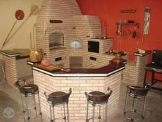 47 Ideas exterior brick design patio for 2019 Pizza Oven Outdoor, Outdoor Cooking, Brick Bbq, Four A Pizza, Mexico House, French Style Homes, Brick Design, Exterior Design, Rocket Stoves
