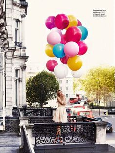 Clemence Poesy photographed by David Oldham for Glamour UK- I just LOVE balloons! Clemence Poesie, Ballons Fotografie, Art Photography, Fashion Photography, Editorial Photography, Female Photography, Birthday Photography, Stunning Photography, Outdoor Photography
