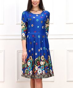 Look at this Blue & Turquoise Floral Fit & Flare Dress on #zulily today!
