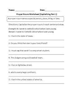 Capitalizing Proper Nouns Worksheet