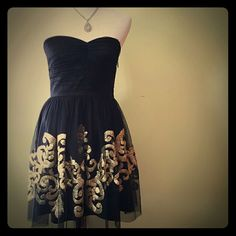 Cocktail Dress In Black With Gold Detailing