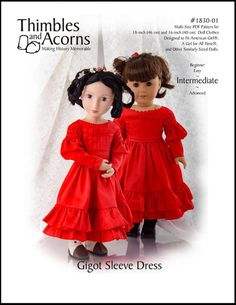 "1830S GIGOT SLEEVE DRESS BUNDLE 16"" AND 18"" DOLL CLOTHES"
