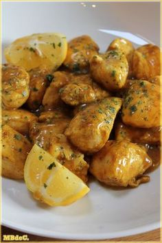 Poulet au citron de Sabrina - - Ideas (i will organize this once school is over) - # Diet Recipes, Chicken Recipes, Cooking Recipes, Healthy Recipes, Salty Foods, Exotic Food, Lemon Chicken, Antipasto, Diy Food