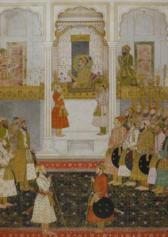 Prince Aurangzeb reports to Shah Jahan in durbar at Lahore in 1649.