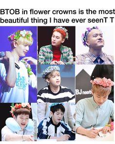 ❤ ❇ BtoB ❇ ❤ BtoB with flower crowns *^* ❤♡♥ Btob Changsub, Yook Sungjae, Minhyuk, Btob Members, Im Hyun Sik, Jung Jaewon, Cha Eun Woo, Kpop, Daesung