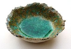 ceramic dish with glass melted in the base by hodgepodgearts, via Flickr