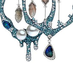 Autore's Fire & Ice Antarctica necklace and earrings. Fashioned from white and rose gold and titanium, and embellished with labradorite, black opals, paraiba tourmalines and diamonds they're the perfect frosted fancies for a super special day.