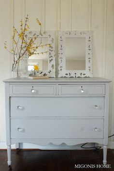 Dresser / Bureau refinished in Benjamin Moore's Stonington Gray.