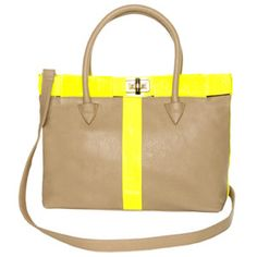 Bright Club Taupe and Neon Yellow Tote, $49; Lulus.