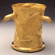 Northwestern Iranian Gold Cup with Vultures and Gazelles, Marlik  12th cent-BCE. Northwestern Iranian Plateau: Upper Mesopotamia