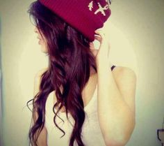Cuteee. Love hair color and w/ beanie.