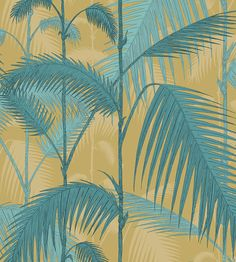 A stunning jungle palm leaf fabric design with a shadow colourway - inspired by the classic wallpaper pattern. Shown here in linen union. Ochre / Petrol, yellow and blue colourway. Usable width 135 cm with a half pattern drop match. Curtain Drops, Contemporary Fabric, Design Repeats, Made To Measure Curtains, Cole And Son, Fabric Houses, Leaf Prints, Linen Fabric, Fabrics