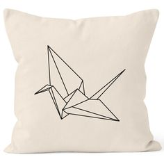 Kissenbezug Origami Kranich Crane Vogel Bird Kissen-Hülle Deko-Kissen 40x40 Baumwolle Autiga®
