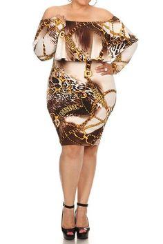 5120739b3fd Leopard Chain Print Off The Shoulder Plus Size Dress
