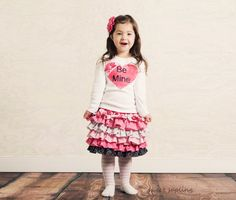 girls valentines day outfit, valentines ruffle skirt, boutique valentines outfit, toddler valentines outfit, pink skirt, hearts skirt