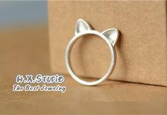 Handmade Silver Cat Ring, Handmade 990 Silver Ring, Bridesmaid ring, Bridal…