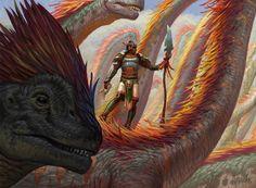 Drover of the Mighty — Eric Deschamps Illustration Dinosaur Drawing, Dinosaur Art, Extinct Animals, Prehistoric Animals, Fantasy Images, Fantasy Art, Dinosaur Fight, Mtg Art, Afro Art