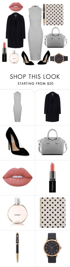 """""""An easy tip on how to style the boss look"""" by anyaaa04 on Polyvore featuring Topshop, MSGM, Steve Madden, Givenchy, Lime Crime, Smashbox, Chanel, Kate Spade, Parker and Marc Jacobs"""