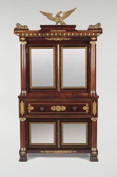 1833 desk bookcase, I Jones, Phila (w1794-1868), rswd.gilt,brass, 80t, Philadelphia Museum of Art.