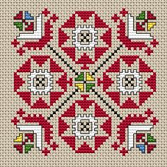 A beautiful motif based on traditional Bulgarian embroidery. The pattern contains full stitches and back stitches.
