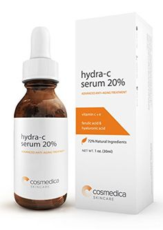 BEST VITAMIN C SERUM 20%--Vitamin C E + Ferulic Acid + Hyaluronic Acid Serum -72% Natural Extracts and Organic Ingredients- Best Anti-Aging Serum - 100% SATISFACTION GUARANTEE Cosmedica Skincare