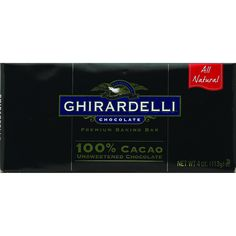 Ghirardelli Bar Baking - Unsweetened Chocolate - 100 Percent Cacao - 4 oz - Case of 12