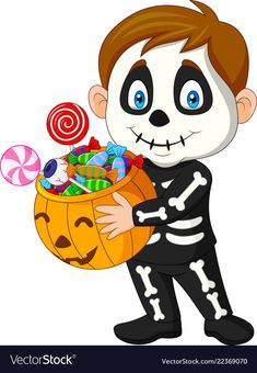 Cartoon kid with skeleton costume holding pumpkin vector image on VectorStock Sac Halloween, Moldes Halloween, Halloween Wall Decor, Adornos Halloween, Halloween Images, Halloween 2020, Holidays Halloween, Vintage Halloween, Halloween Crafts