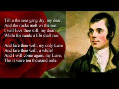 Robert Burns ~ A Red, Red Rose ~ poem with text Scottish Poems, Rose Poems, Burns Supper, Robert Burns, Wedding Quotes, Quotes To Live By, Favorite Quotes, Poetry, Motivation