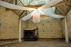 Cross Shaped Fabric Drapes - Cogges Farm wedding Canopy Lights, Ceiling Lights, Draped Fabric, Farm Wedding, Chandelier, Lighting, Beautiful, Home Decor, Candelabra