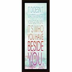Beside You Modern Watercolor Gradient Inspirational Typography Blue & Red, Framed Canvas Art by Pied Piper Creative, Brown