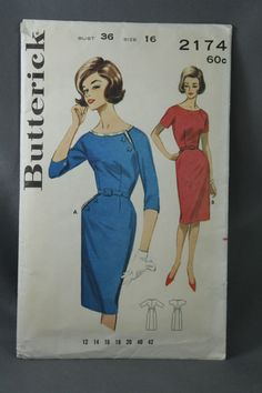 Vtg Butterick Pattern 2174 Size 16 Bust 36 Misses Womens Shallow Necked Dress