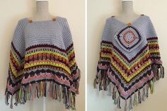 "This blanket poncho crochet pattern, or ""ponchet"" as I like to call it, is made by working rounds, increasing on the corner to make sure that it stays flat."