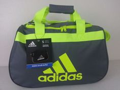 NWT ADIDAS Diablo Small Duffel Bag Charcoal Yellow Sport Gym Carry On Expandable #adidas #ebay #adidas #DiabloSmall #DuffelBag