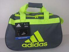 NWT ADIDAS Diablo Small Duffel Bag Charcoal Yellow Sport Gym Carry On Expandable #adidas #ebay #adidas #DiabloSmall #DuffelBag