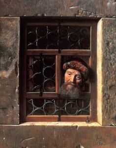 Samuel van Hoogstraten (Dutch painter, printmaker & poet) 1627 - 1678  Old Man at a Window, 1653  oil on canvas  112 x 88 cm.  Gemäldegalerie, Kunsthistorisches Museum, Vienna