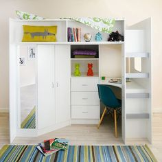 Cabin bed with a high sleeper function with a large wardrobe and desk, also with Oak finish.