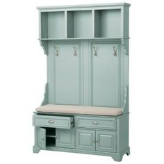 Add cottage-chic ambience to your entryway or mudroom with this Home Decorators Collection Sadie Antique Blue Double Hall Tree with Cushion. Entryway Storage, Entryway Furniture, Kitchen Furniture, Entryway Decor, Locker Storage, Kitchen Decor, Entryway Hall Tree, Hall Tree Bench, Diy Locker