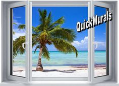 Palm View Window Peel & Stick Wall Mural